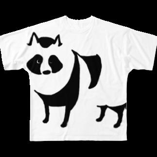 あさもん屋のたぬき Full graphic T-shirts