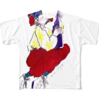 ズッキュンガール Full graphic T-shirts