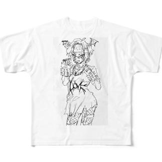 💤負け犬インターネット💤のパンクこうもりちゃん Full graphic T-shirts