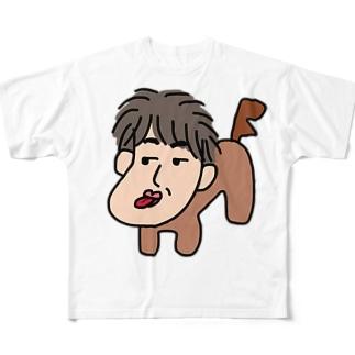 人面犬「たか爺」 Full graphic T-shirts