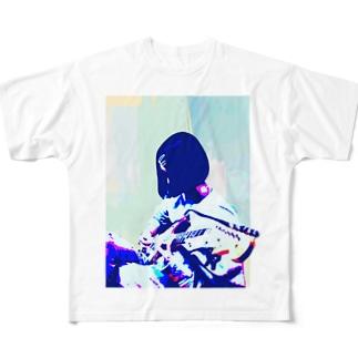 ろくろくろっくのギターガール012 Full graphic T-shirts