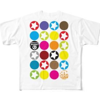 カラフルな○がいっぱい!★がいっぱい!! Full graphic T-shirts