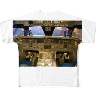 スペースシャトル コクピット Full graphic T-shirts