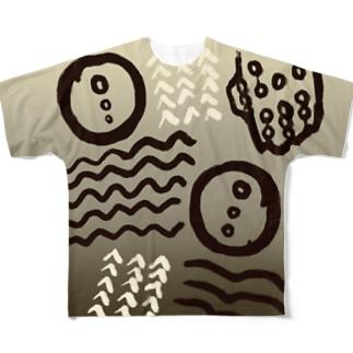 akari🌼虫デフォルメ作家のイボタガ【Always with Bugs・鱗翅パターン】 Full graphic T-shirts