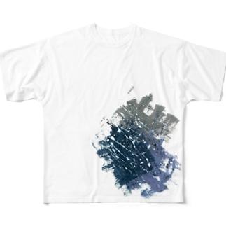 ペイント ネイビー Full graphic T-shirts