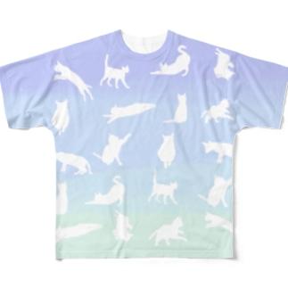 猫シルエット Full graphic T-shirts