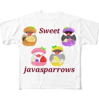 ぎゅっとマカロン文鳥ず ロゴ入り2 All-Over Print T-Shirt