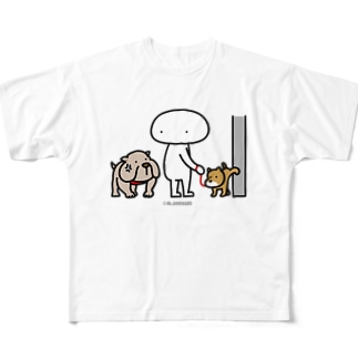 Mr.AWKWARD with Dog Full graphic T-shirts