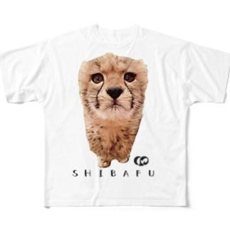 ど真ん中しばふちゃん Full graphic T-shirts
