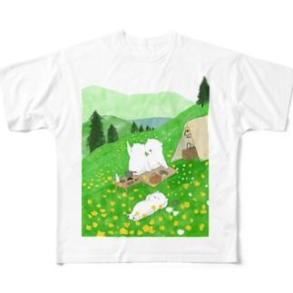 ももろ ののんびりキャンプ Full graphic T-shirts