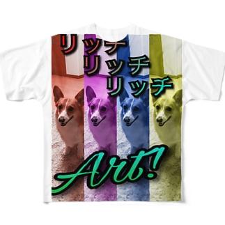 コーギーリッチART Full graphic T-shirts