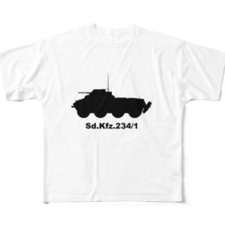 8輪装甲車 Sd.Kfz.234/1(黒) Full Graphic T-Shirt