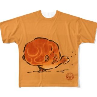 びっちょん金魚(絵巻) Full graphic T-shirts