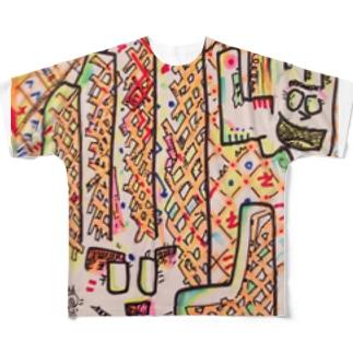 やや右斜め前に右手を差し出した左手 Full graphic T-shirts