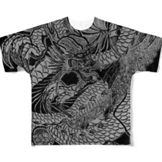 龍と氷桜 Full graphic T-shirts