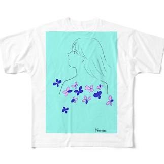 水色⛵ Full graphic T-shirts