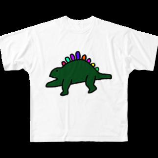 kurubusiの恐竜くん Full graphic T-shirts