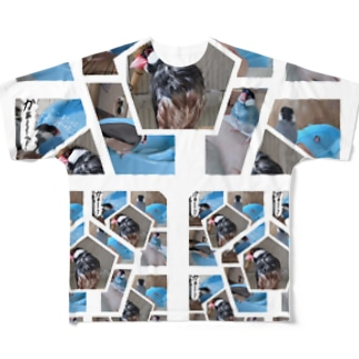 XL文鳥 プール水浴び記念コラージュ Full graphic T-shirts