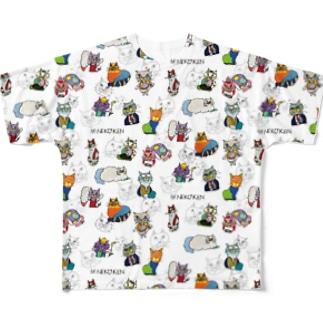 NEKO KEN 総柄 Full Graphic T-Shirt
