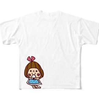 おにぎり大好きぴんきーりぼんちゃん Full graphic T-shirts