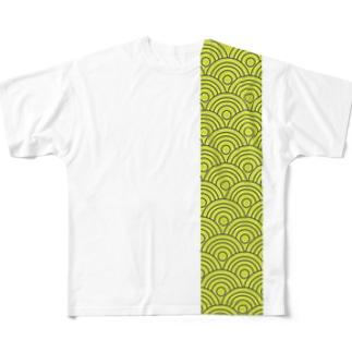aozora-purasuの波模様 Full graphic T-shirts