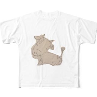 ヘタウシ Full graphic T-shirts