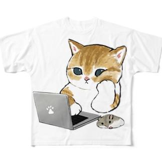 在宅勤務にゃん All-Over Print T-Shirt