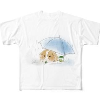 モルモットと傘(白) All-Over Print T-Shirt