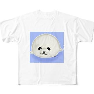 ベビーアザラシ背景あり Full Graphic T-Shirt
