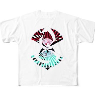 扇扇桔梗 Full graphic T-shirts