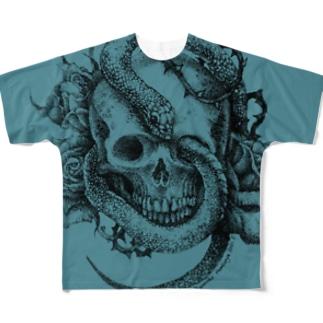 蛇と蠍(青) Full graphic T-shirts
