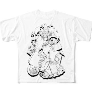 オウムの破壊活動モノクロ Full graphic T-shirts