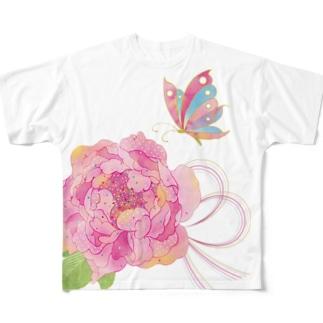 牡丹に蝶+色水引 Full graphic T-shirts