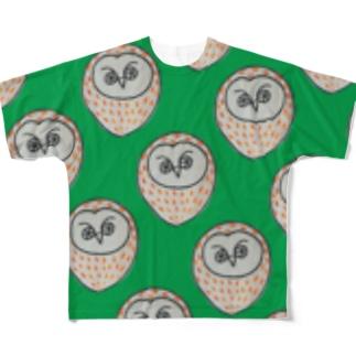 フクロウさん Full graphic T-shirts