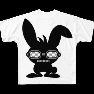taketaketakeのブラックラビットフルグラフィックTシャツ