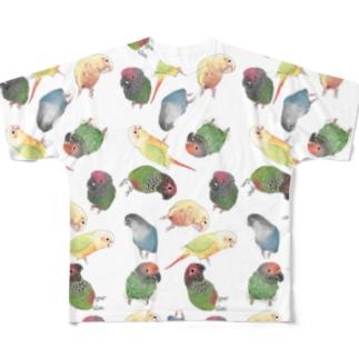 まめるりはことりのたっぷりウロコインコちゃん【まめるりはことり】 All-Over Print T-Shirt