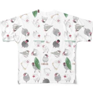 たっぷり文鳥ちゃん【まめるりはことり】 Full graphic T-shirts