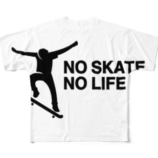 NO SKATE NO LIFE 黒ロゴ Full graphic T-shirts