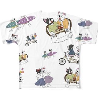 フレブル 擬人化 総柄 All-Over Print T-Shirt