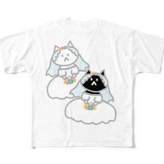 シロクロニャンコニャンコ Full graphic T-shirts