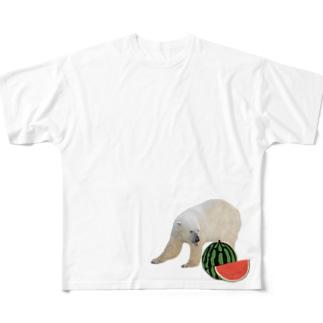 シロクマとスイカ All-Over Print T-Shirt