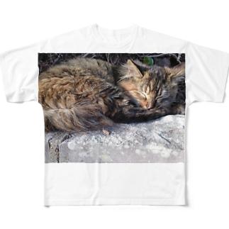 まったりにゃんこさん Full graphic T-shirts