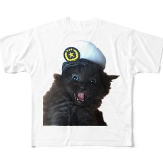猫のお巡りさん再び Full graphic T-shirts