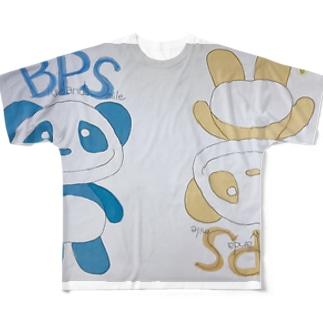 イエローパンダ&ブルーパンダ Full graphic T-shirts