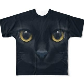 Neko-Shika-Katanの闇夜の黒猫 All-Over Print T-Shirt
