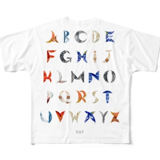PLALPHABET 惑星 アルファベット Full graphic T-shirts