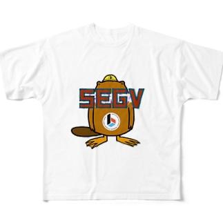 Daisuke Makiのビーコン君 SEGV Full graphic T-shirts