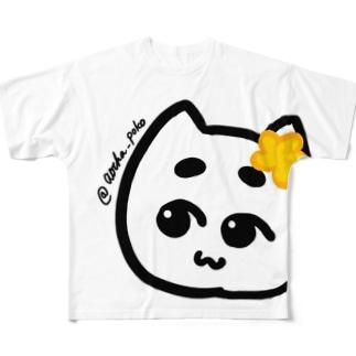 花飾りぽこにゃん Full graphic T-shirts