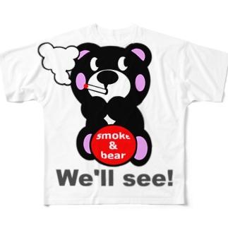一服モクモックマ  黒 Full graphic T-shirts