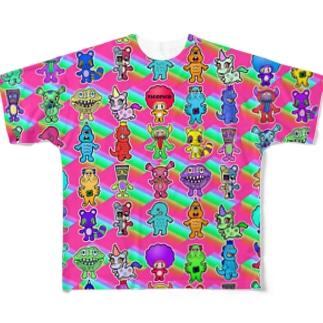 ピコピコオールスター ピンク Full graphic T-shirts